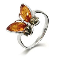 Genuine Baltic Amber Sterling Silver Butterfly Ring
