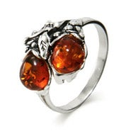 Genuine Sterling Silver Baltic Amber Ring in Leaf Design