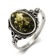Victorian Style Green Baltic Amber Silver Ring