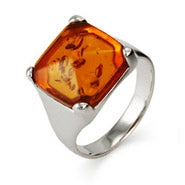 Sterling Silver Bold Princess Cut Amber Ring