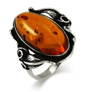 Old Fashioned Flourish Sterling Silver Baltic Amber Ring