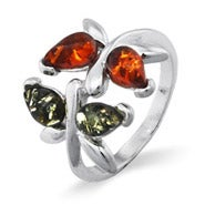 Green and Honey Amber Sterling Silver Dragonfly Ring
