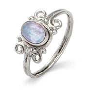 Sterling Swirl Design Moonstone Ring