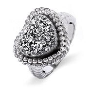 Sterling Silver Shimmering Dusk Drusy Heart Ring