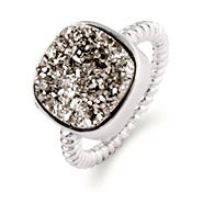 Sterling Silver Cushion Cut Shimmering Dusk Drusy Ring
