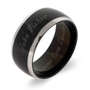 Black Plate Steel Lined Men's Graduation Class Ring