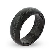 7mm Black Plated Engravable Ring For Graduation