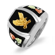 Black Hills Gold Men's Ring with Onyx Eagle