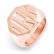 Block Monogram Octagon Rose Gold Signet Ring