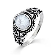 Butterfly and Mother of Pearl Sterling Silver Ring