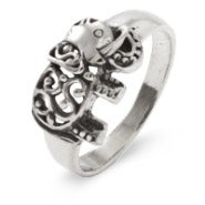 Sterling Silver Filigree Design Elephant Ring