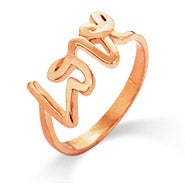 Designer Style Rose Gold Scripted Love Ring