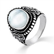 Beaded Vintage Carved Oval Moonstone Ring