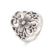 Sterling Silver Filigree Design Flower Ring