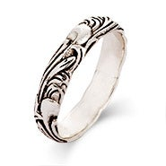 Sterling Silver Carved Leaf Stackable Band