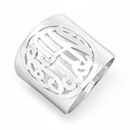 Sterling Silver Cutout Cigar Band Monogram Ring
