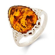Genuine Baltic Amber Sterling Silver Vintage Scroll Pear Cut Ring