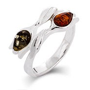Genuine Baltic Amber Sterling Silver Tulip Friendship Ring