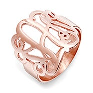 Fancy Script Monogram Rose Gold Vermeil Ring