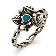 Sterling Silver 3 Leaf Turquoise Ring