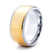 Two Tone Gold Engravable Wide Band with Coin Edge