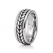 Men's Wheat Design Stainless Steel Engravable Band
