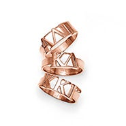 Sorority Greek Letter Ring in Rose Gold