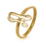 Custom Script Initial Ring in Gold