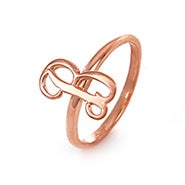 Custom Script Initial Ring in Rose Gold