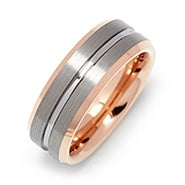 Men's Beveled Edge Rose Gold and Brushed Tungsten Ring