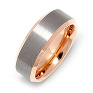 Men's Brushed Tungsten Center and Rose Gold Ring
