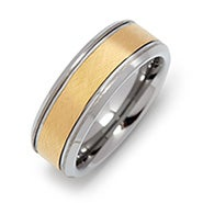 Men's Brushed Gold and Tungsten Ring