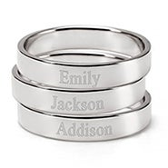 Engravable Three Silver Stacking Name Rings
