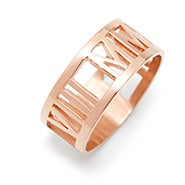 Custom Roman Numeral Rose Gold Cut Out Ring