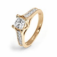 14K Gold Princess Cut Channel Set CZ Engagement Ring