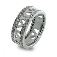 Designer Style Open Roman Numeral CZ Sterling Silver Ring