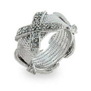 Designer Style Band with White Cubic Zirconia X's