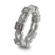 Sterling Silver Stackable Band with Diamond Cubic Zirconias