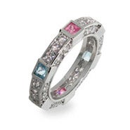 Sterling Silver Stackable Pastel CZ Band