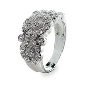 Designer Style Diamond Cubic Zirconia Rose Ring