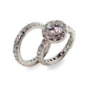 Celebrity Inspired Diamond CZ Engagement Ring Set