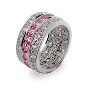 Pink and Diamond Cubic Zirconia Ring in Sterling Silver