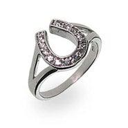 Designer Style Sterling Silver Lucky Horseshoe Ring