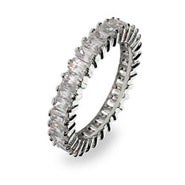 Sterling Silver Baguette Cut Cubic Zirconia Anniversary Band