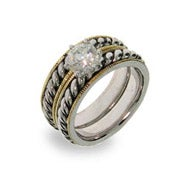Designer Inspired Cable Ring Set with 14K Gold Plating