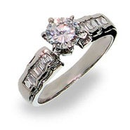 Sterling Silver Brilliant Cut Engagement Ring