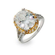 Celebrity Insipired Oval CZ Engagement Ring