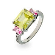 Sterling Silver Peridot and Pink CZ Ring