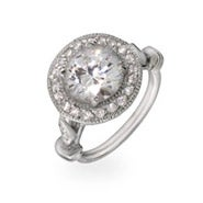 Round Cubic Zirconia Engagement Ring