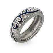Sterling Silver Blue Enamel Swirl CZ Ring